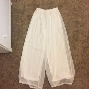 Pants - White chiffon Flowy pants